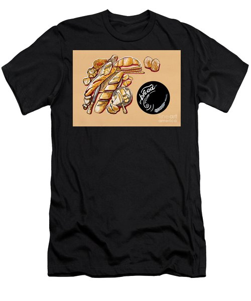 Men's T-Shirt (Athletic Fit) featuring the drawing Kitchen Illustration Of Menu Of Bread Products  by Ariadna De Raadt