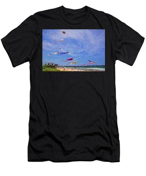 Kites At The Flagler Beach Pier Men's T-Shirt (Athletic Fit)