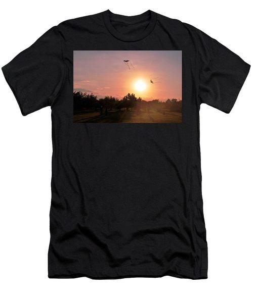 Kites Flying In Park Men's T-Shirt (Slim Fit) by Matt Harang