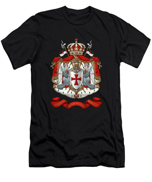 Knights Templar - Coat Of Arms Over Black Velvet Men's T-Shirt (Slim Fit) by Serge Averbukh