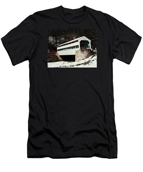 Knox Covered Bridge Historical Place Men's T-Shirt (Slim Fit) by Sally Weigand