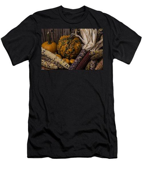 Knuklehead Pumpkin And Indian Corn Men's T-Shirt (Athletic Fit)