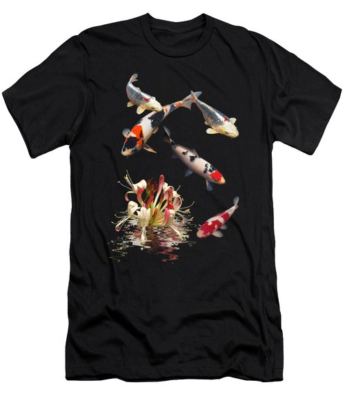 Koi With Honeysuckle Reflections Vertical Men's T-Shirt (Slim Fit) by Gill Billington