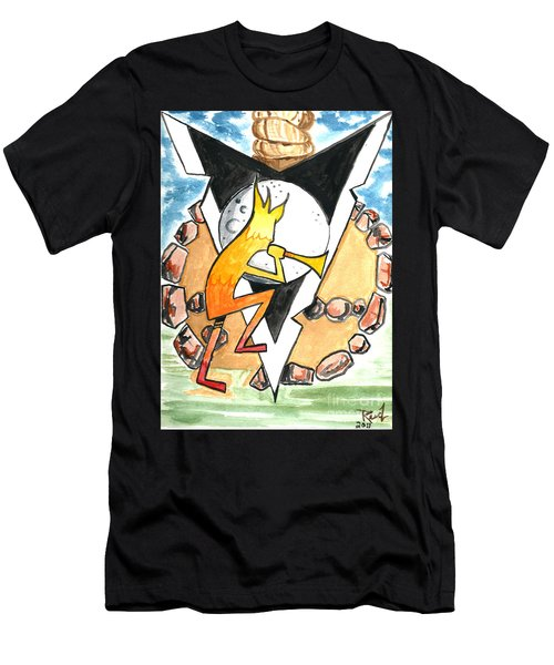 Men's T-Shirt (Athletic Fit) featuring the painting Kokapelli Dancing Into The Circle by Reed Novotny