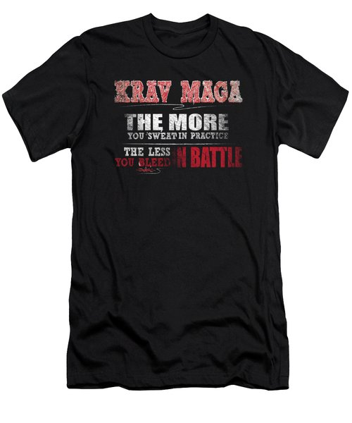 Krav Maga More Sweat In Practice Less Bleed Battle T Shirt Men's T-Shirt (Athletic Fit)