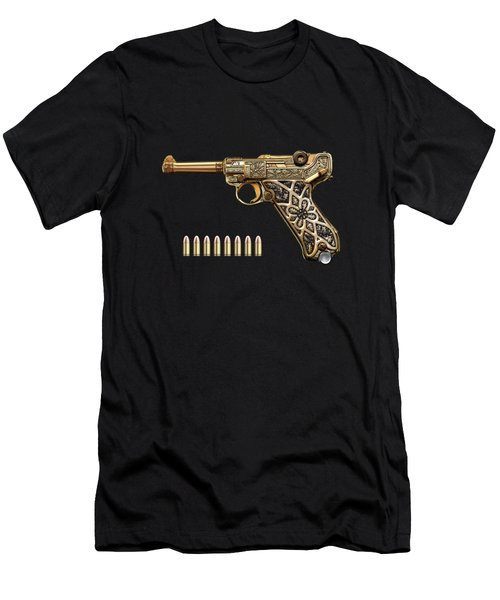 Krieghoff Presentation P.08 Luger With Ammo Over Black Velvet Men's T-Shirt (Athletic Fit)