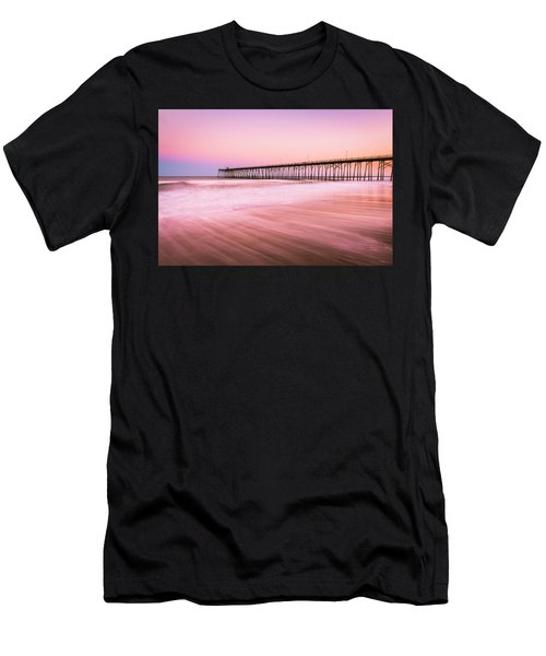 Men's T-Shirt (Athletic Fit) featuring the photograph Kure Beach Fishing Pier At Sunset by Ranjay Mitra