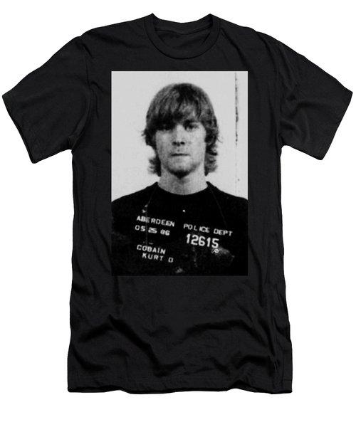 Kurt Cobain Mug Shot Vertical Black And Gray Grey Men's T-Shirt (Athletic Fit)
