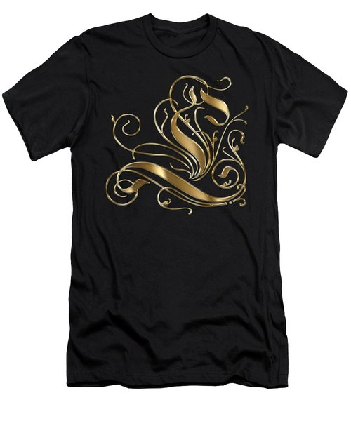 L Golden Ornamental Letter Typography Men's T-Shirt (Athletic Fit)