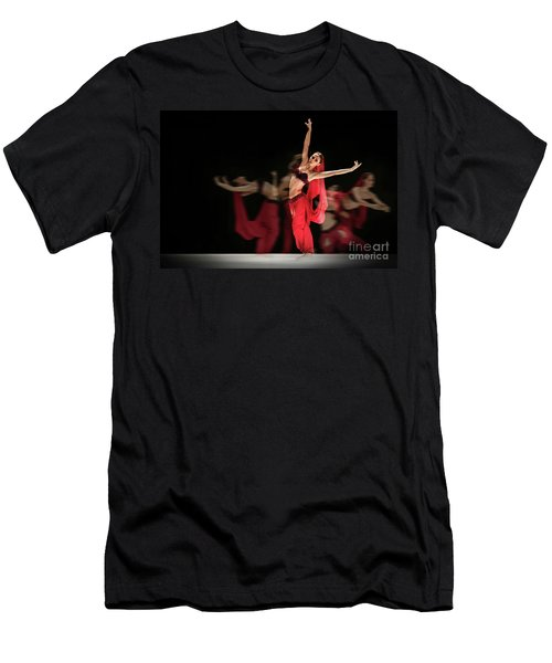 Men's T-Shirt (Athletic Fit) featuring the photograph La Bayadere Ballerina In Red Tutu Ballet by Dimitar Hristov