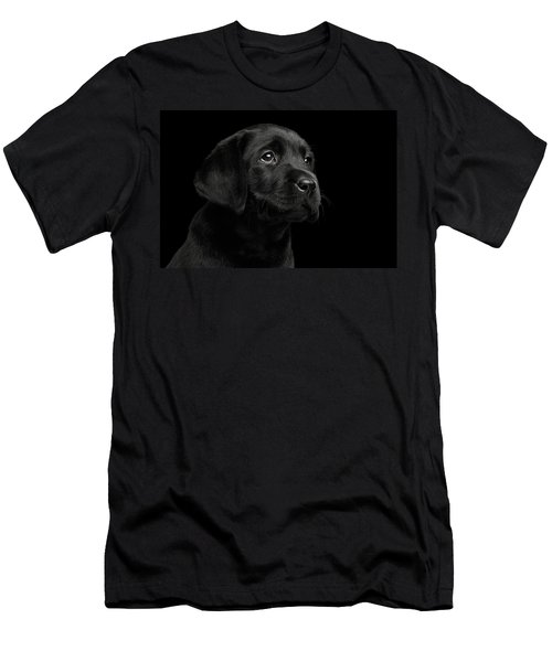 Labrador Retriever Puppy Isolated On Black Background Men's T-Shirt (Athletic Fit)