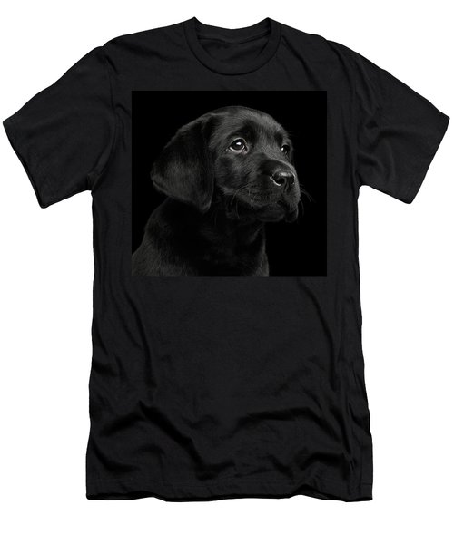 Men's T-Shirt (Athletic Fit) featuring the photograph Labrador Retriever Puppy Isolated On Black Background by Sergey Taran