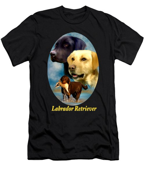 Men's T-Shirt (Athletic Fit) featuring the painting Labrador Retriever With Name Logo by Becky Herrera