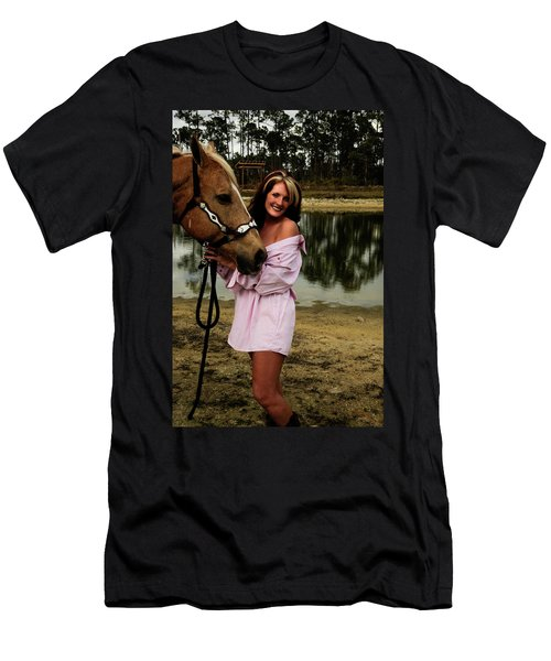 Lady And Her Horse Men's T-Shirt (Athletic Fit)