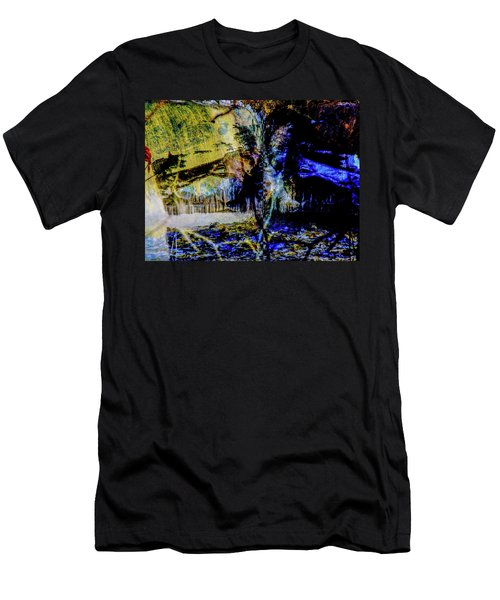 Lady At The Beach Through The Frozen Falls Men's T-Shirt (Athletic Fit)