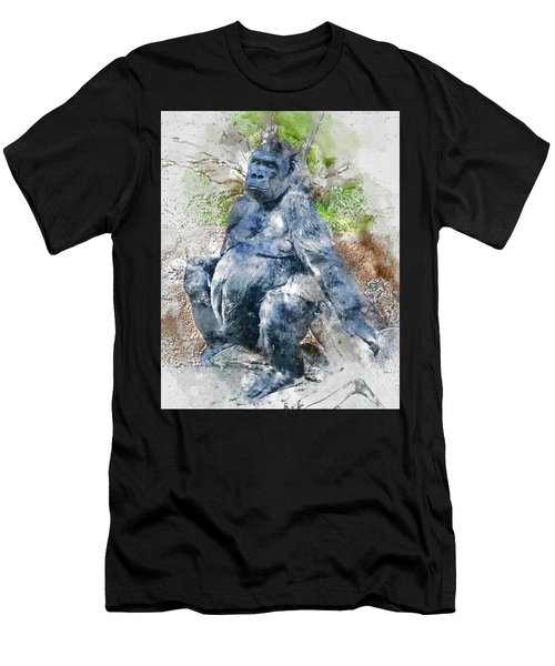 Lady Gorilla Sitting Deep In Thought Men's T-Shirt (Athletic Fit)