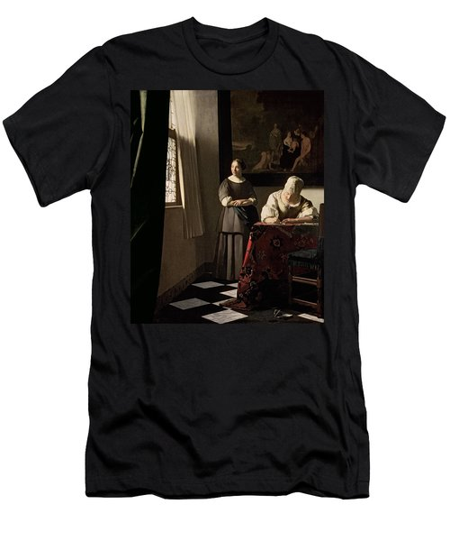 Lady Writing A Letter With Her Maid Men's T-Shirt (Athletic Fit)
