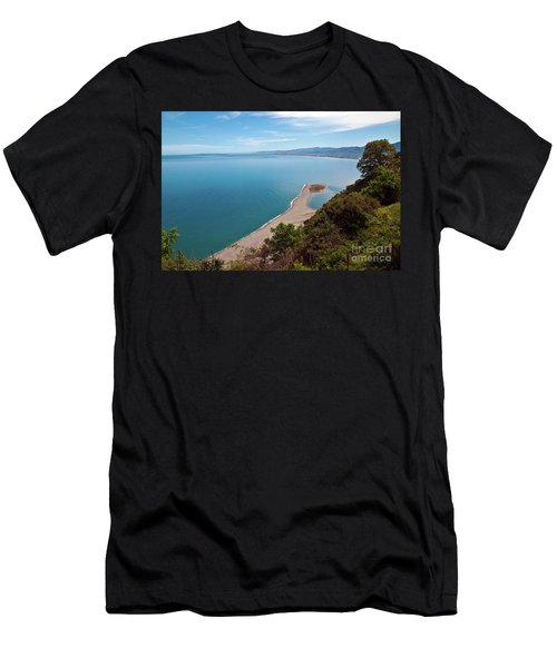 Men's T-Shirt (Athletic Fit) featuring the photograph Lagoon Of Tindari On The Isle Of Sicily  by Silva Wischeropp