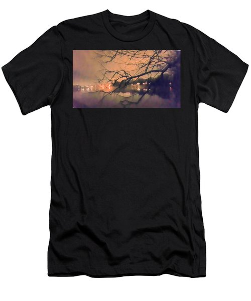 Foggy Lake At Night Through Branches Men's T-Shirt (Athletic Fit)