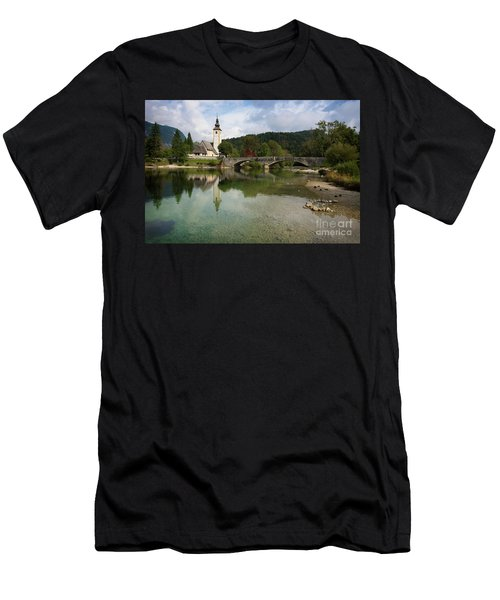 Men's T-Shirt (Athletic Fit) featuring the photograph Lake Bohinj With Church In Slovenia by IPics Photography