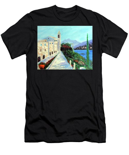 Men's T-Shirt (Slim Fit) featuring the painting Lake Como Colors  by Larry Cirigliano