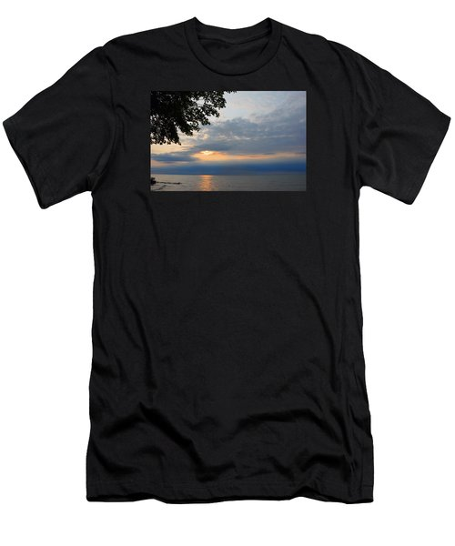 Lake Erie Sunset Men's T-Shirt (Slim Fit) by Lena Wilhite