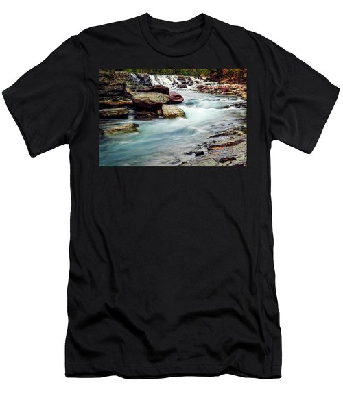 Lake Mcdonald Falls, Glacier National Park, Montana Men's T-Shirt (Athletic Fit)