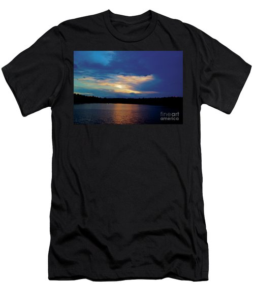 Men's T-Shirt (Slim Fit) featuring the painting Lake Sunset by Debra Crank