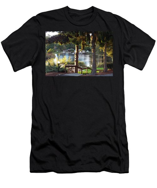 Men's T-Shirt (Slim Fit) featuring the photograph  Beverly Lake View In Fall by Judyann Matthews