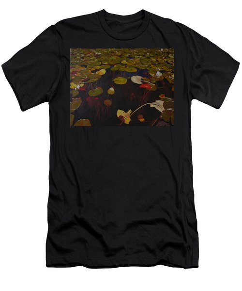 Men's T-Shirt (Slim Fit) featuring the painting Lake Washington Lilypad 7 by Thu Nguyen
