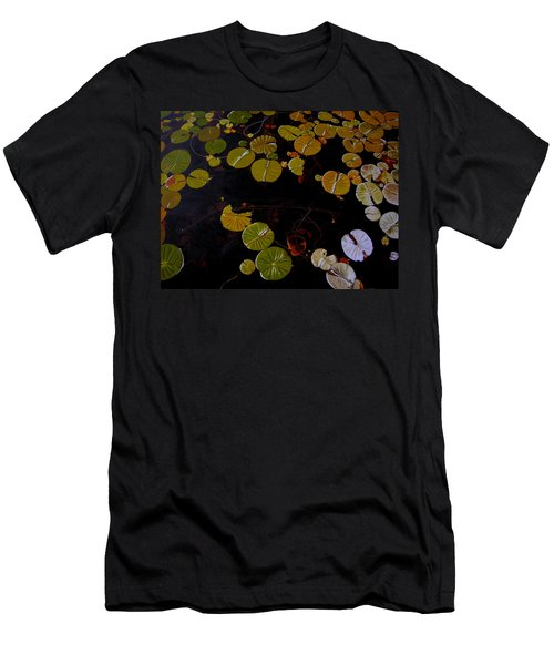 Men's T-Shirt (Slim Fit) featuring the painting Lake Washington Lilypad 8 by Thu Nguyen