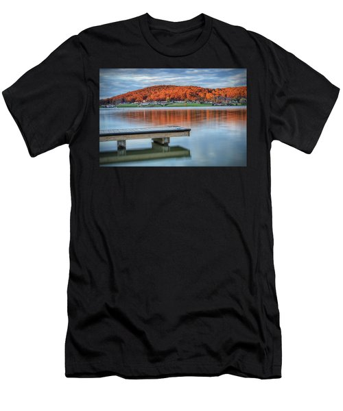 Autumn Red At Lake White Men's T-Shirt (Athletic Fit)