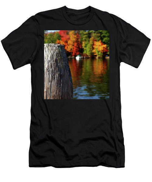 Lake Winnepesaukee Dock With Foliage In The Distance Men's T-Shirt (Athletic Fit)