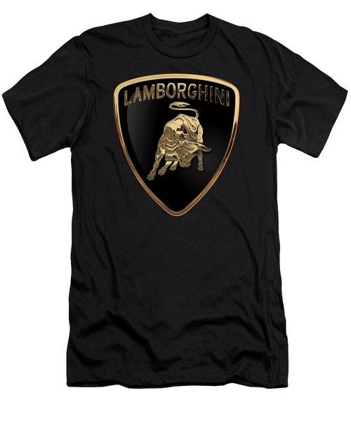 Lamborghini - 3d Badge On Black Men's T-Shirt (Slim Fit) by Serge Averbukh
