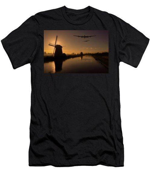 Lancaster Bombers And Dutch Windmills Men's T-Shirt (Slim Fit) by Ken Brannen