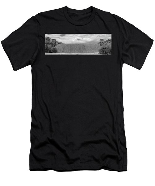 Men's T-Shirt (Athletic Fit) featuring the photograph Lancaster Over The Derwent Dam Bw Version by Gary Eason