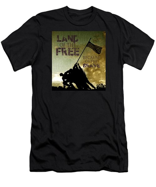 Land Of The Free Men's T-Shirt (Slim Fit) by Dawn Romine