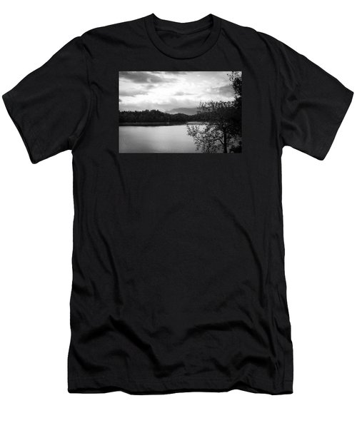 Men's T-Shirt (Slim Fit) featuring the photograph Landscape In Black And White Nantahala River Blue Ridge Mountains by Kelly Hazel