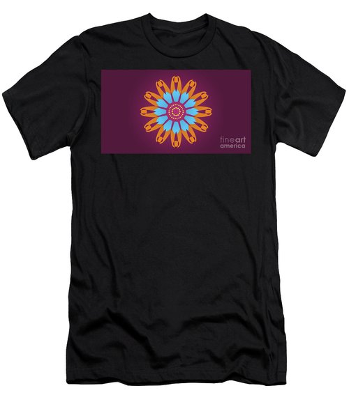 Landscape Purple Back And Abstract Orange And Blue Star Men's T-Shirt (Athletic Fit)