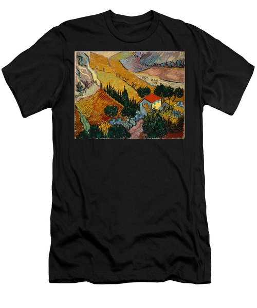 Men's T-Shirt (Athletic Fit) featuring the painting Landscape With House And Ploughman by Van Gogh