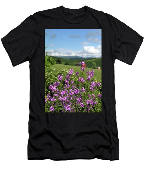 Landscape With Purple Flowers Men's T-Shirt (Athletic Fit)