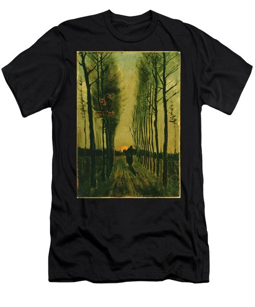 Men's T-Shirt (Athletic Fit) featuring the painting Lane Of Poplars At Sunset by Van Gogh