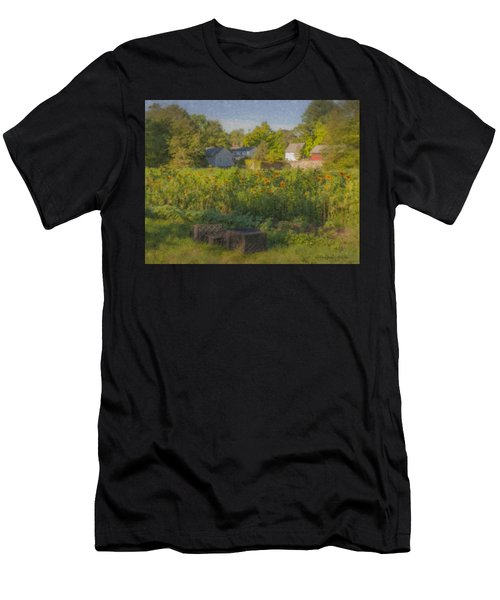 Langwater Farm Sunflowers And Barns Men's T-Shirt (Athletic Fit)