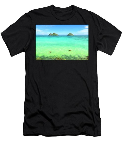 Lanikai Beach Two Sea Turtles And Two Mokes Men's T-Shirt (Athletic Fit)