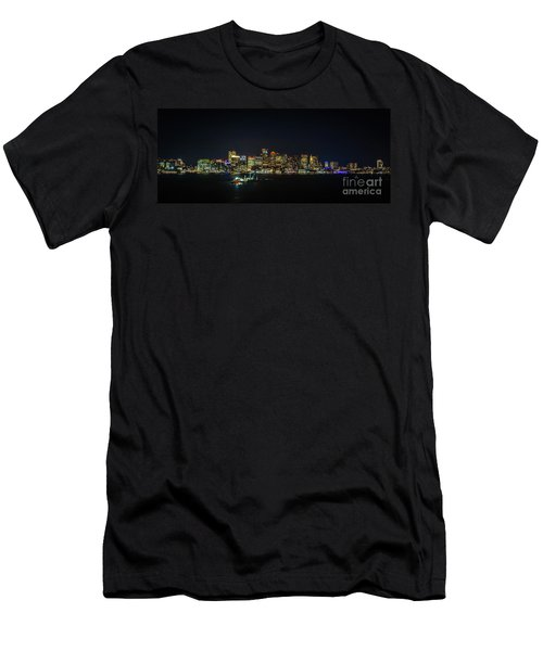 Large Panoramic Of Downtown Boston At Night Men's T-Shirt (Athletic Fit)