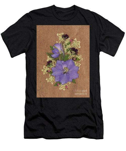 Larkspur And Queen-ann's-lace Pressed Flower Arrangement Men's T-Shirt (Athletic Fit)