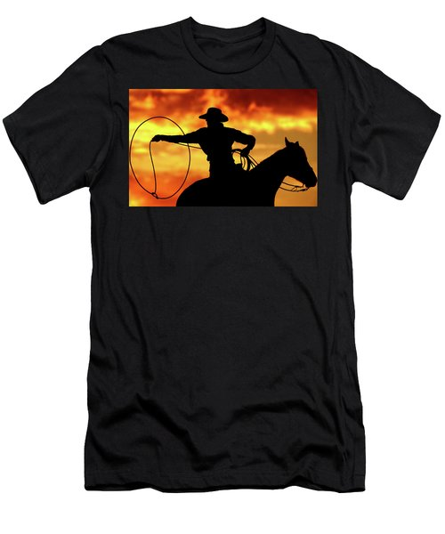 Lasso Sunset Cowboy Men's T-Shirt (Athletic Fit)