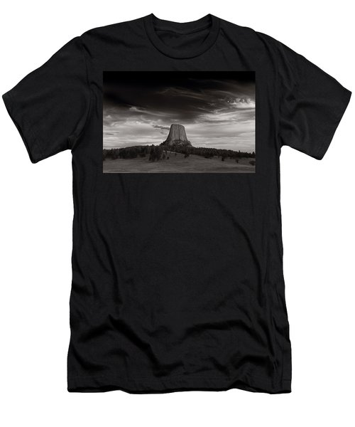 Last Light On Devils Tower Bw Men's T-Shirt (Athletic Fit)