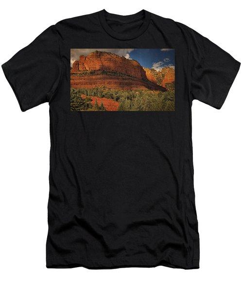 Late Light At Brin's Mesa Txt Pano Men's T-Shirt (Athletic Fit)
