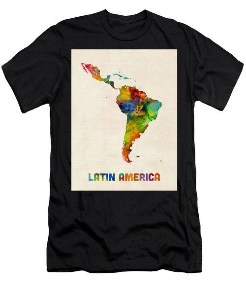 Latin America Watercolor Map Men's T-Shirt (Athletic Fit)
